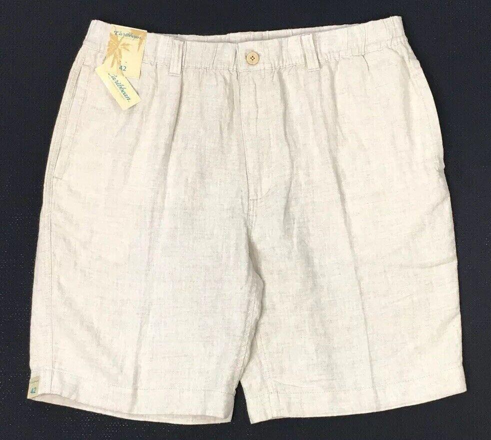 CARIBBEAN Men's Natural 100% LINEN Drawstring Shorts 42 Beach Wear + New