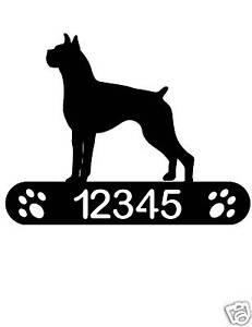 BOXER ADDRESS SIGN DOG HOME PET DECOR PLAQUE K9 PLAQUE