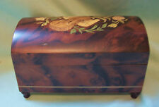 "SORRENTO Italy Wood Music Jewelry Box Violin on Top--Plays ""Torna a Surriento"""