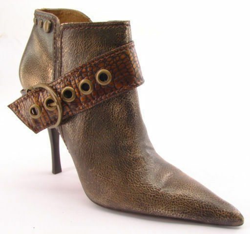 New CARLOS by CARLOS SANTANA Donna Pelle Ankle Side-Zip High Heel Boot Sz 10 M