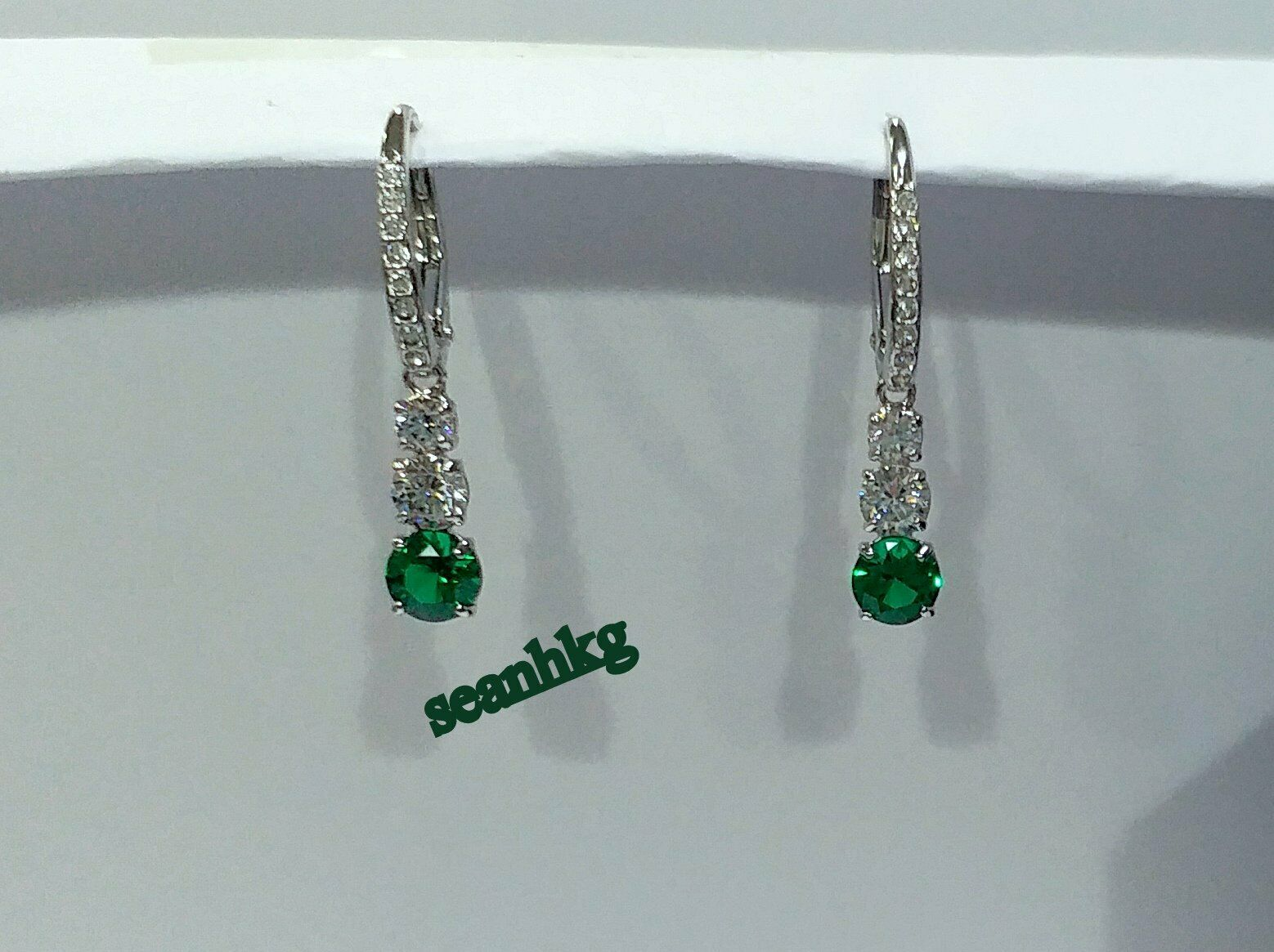 Attract Trilogy Pierced Earrings Green White Swarovski Crystal Authentic 5414682
