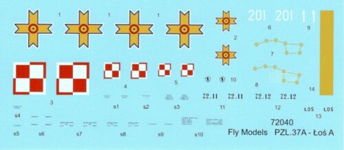 POLISH TWIN ENGINED MEDIUM BOMBER FLY 72040 PZL.37 A LOS A SCALE 1//72