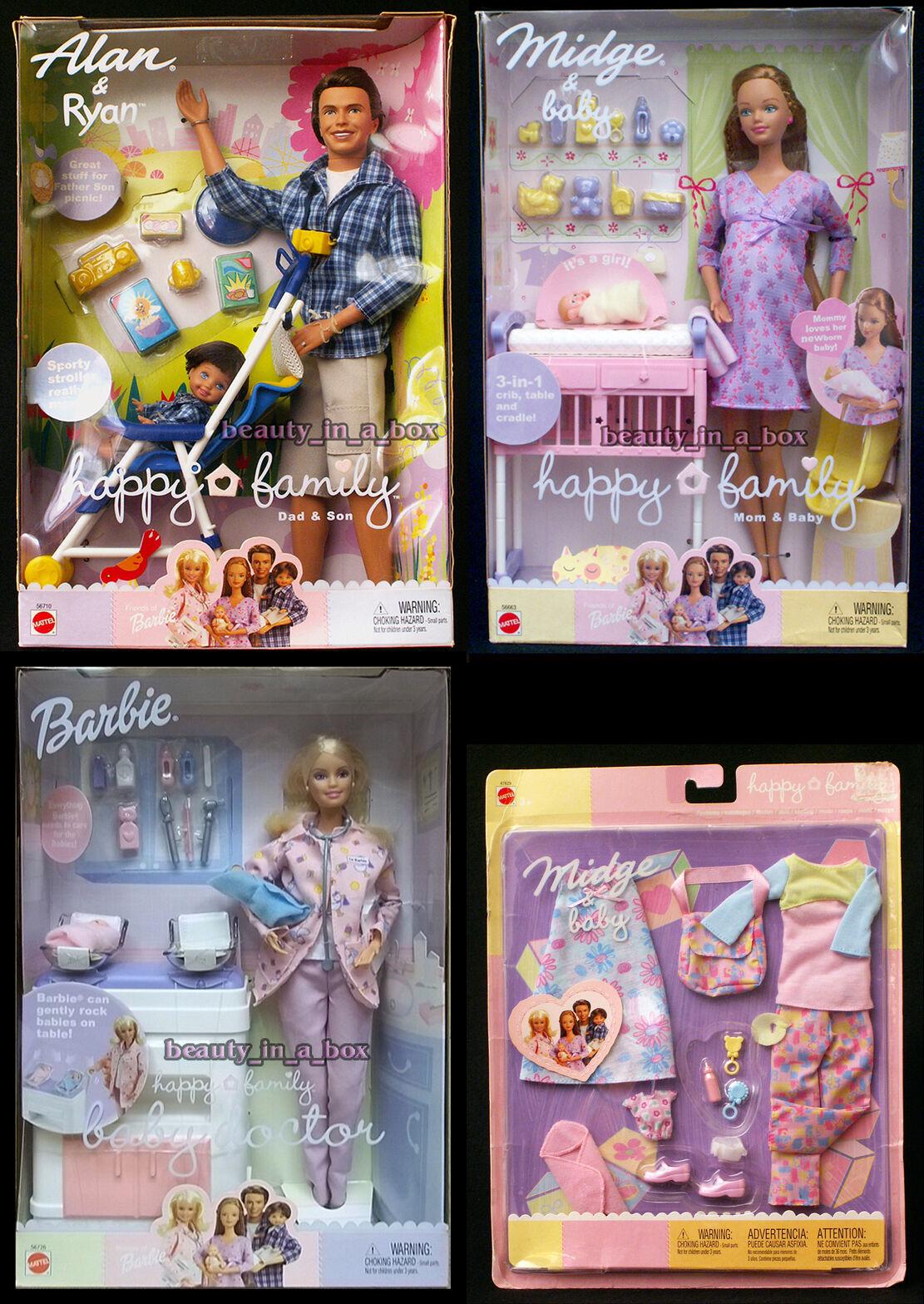 Cecidomia del embarazadas Muñeca Barbie Bebé Alan & Ryan feliz médico de familia moda nunca quitado de la Caja  K3