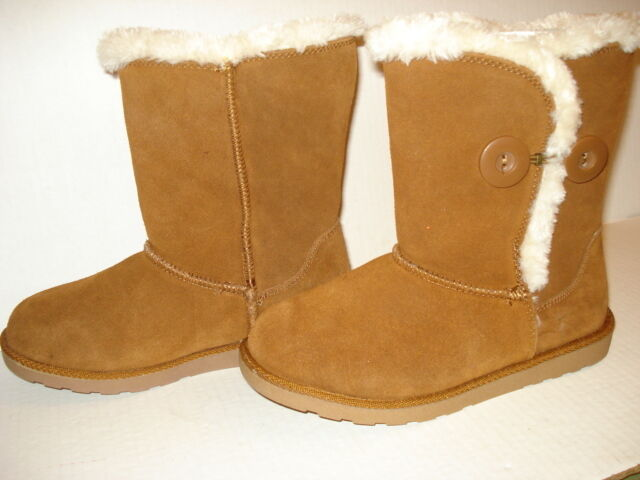 NEW - SO Women's Suede Faux Fur Boots Sigma Chestnut Mid Calf - Size 6 M