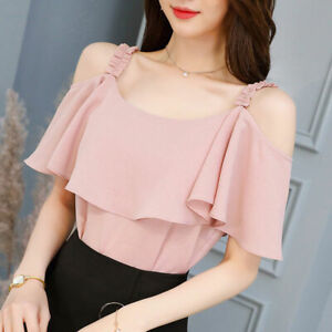 T-Shirt-Shirt-Fashion-Summer-Short-Sleeve-Women-Chiffon-Loose-Top-Ladies-Blouse