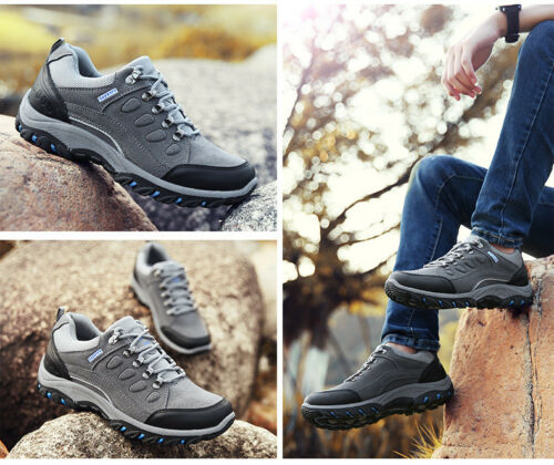 Mens outdoor Walking Hiking Waterproof Ankle Boots Trainers Antiskid shoes UK