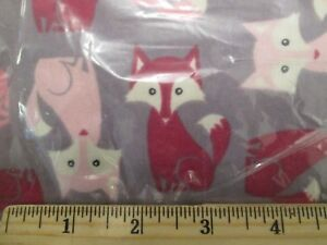 Details about Foxes Snuggle Flannel Fabric 2 yd JoAnn Cotton Pink Gray  White Baby Crafts NIP