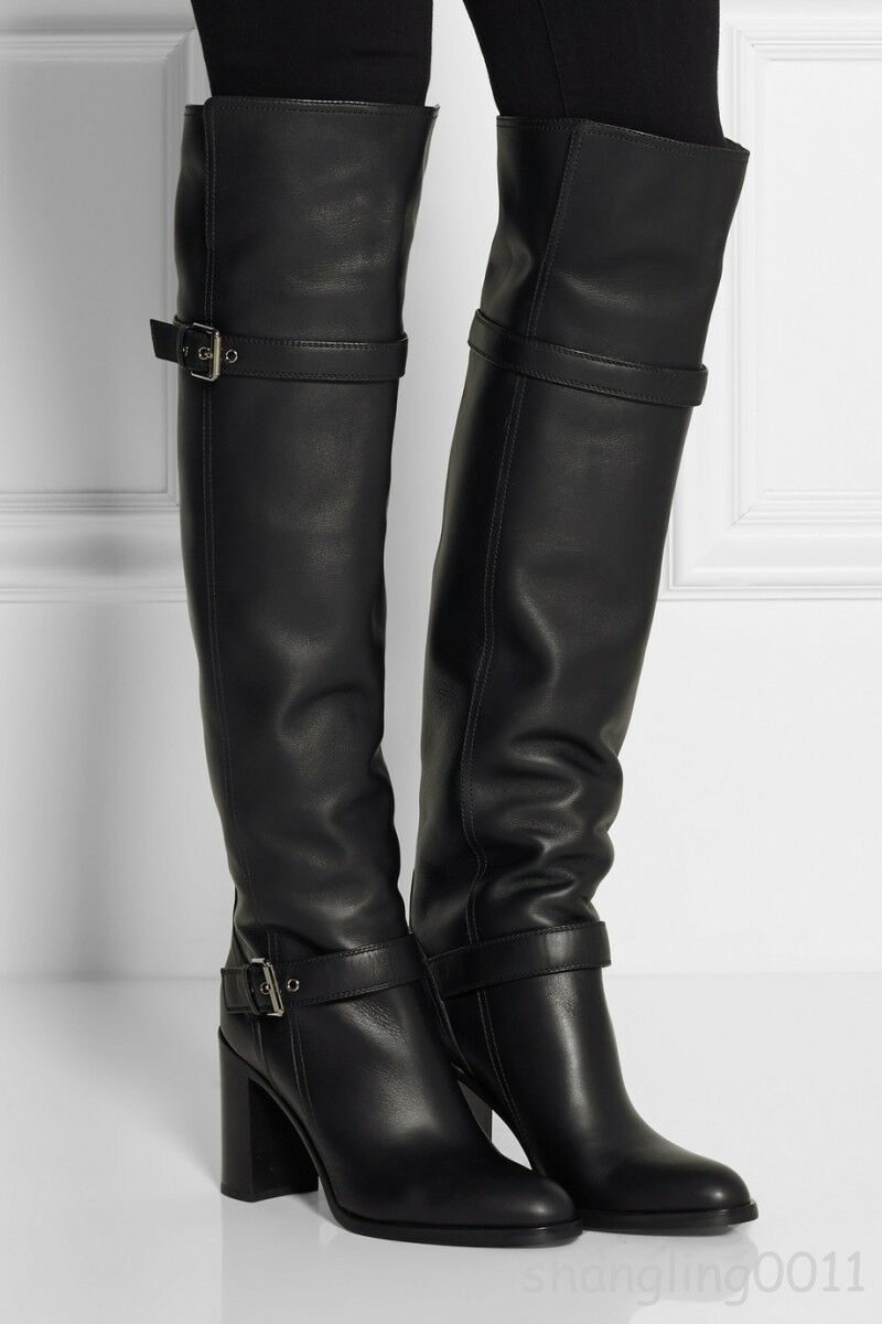 Womens Over The Knee Leather Boots Buckle High Block Heels shoes Black All US Sz