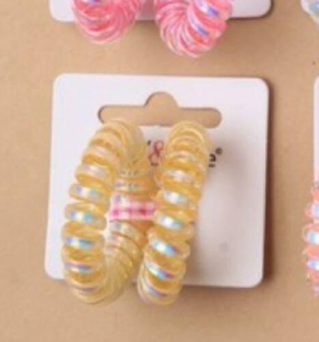 2 Piece Small Metallic Coloured Telephone Cord Hair Ties Bobbles Elastics