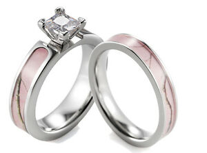 pink camo wedding rings titanium pink tree branch camo ring cz setting engagement 6572