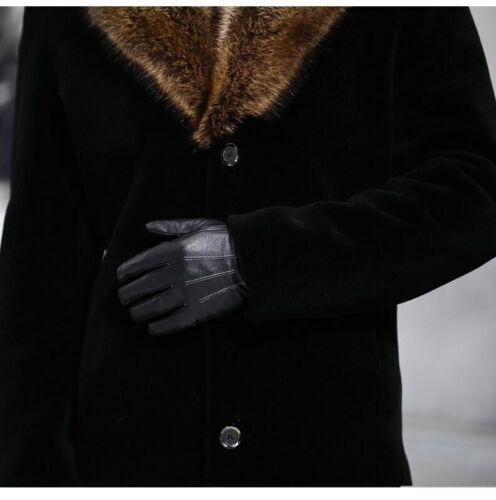 Overcoat Male Wool Winter Black Coat Men With Artifical Fur Collar Outwear Coat