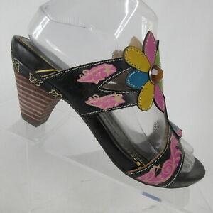 L-039-Artiste-Spring-Step-Medellin-Hand-Painted-Floral-Slide-Sandal-Womens-US-6-5-7