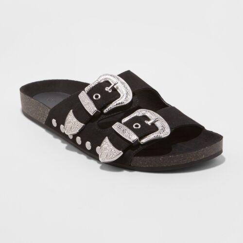 Women/'s Bari Two Band Western Buckle Sandals Universal Thread™ Black Size 6