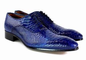 Ivan Troy Blue Crocodile Handmade Italian Leather Dress Shoes/Oxford Shoes