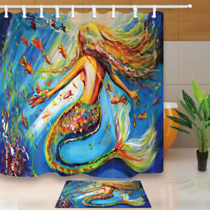 Image Is Loading Oil Painting Colorful Mermaid Shower Curtain Set Fabric