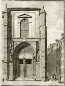 Paris-Portail-de-la-Chapelle-DE-Saint-Yves-Millin-Gravure-originale-XVIIIe