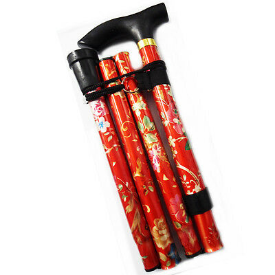 Aluminium Folding Walking Stick Light Weight Support Aid Cane Easy Adjust Pole