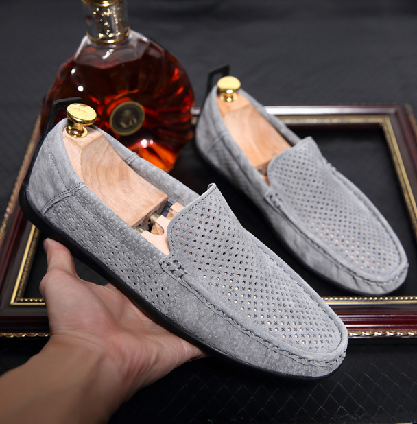 Leather Driving  Mens Summer breathable Hollow Out Loafer Moccasins Casual shoes