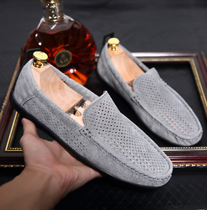 Leather Driving  Mens Summer breathable Hollow Out Loafers Pull On Leisure shoes