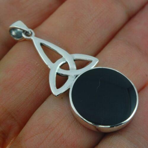 Details about  /Large Celtic Trinity Triquetra Sterling Silver Pendant w Black Onyx