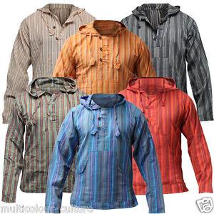 Men-039-s-Cotton-Grandad-Shirt-Full-Sleeved-Hippie-Top-Festival-Stripe-Hippy-Hoodie