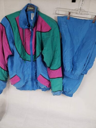 Blue, Green, Pink Windbreaker 2 pc 100% Silk - Sil
