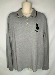 Details about Polo Ralph Lauren Long Sleeve Mens XL Rugby Polo Shirt Big Pony Logo Rugby Gray