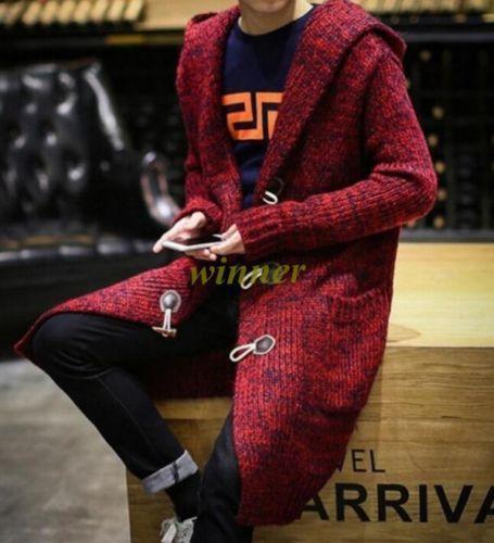 Men Sweater Cardigan Duffle Long Hooded Knitting Coat Parka Outwear Asian M-5XL