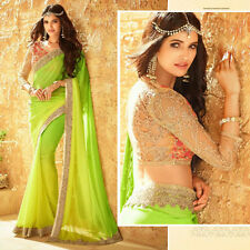 Ethnic Indian Bollywood Party Wear Wedding Saree Designer Sari Blouse Freeship