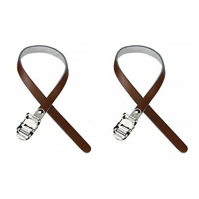 (Pair of) System EX BROWN Leather Toe Clip Straps for RETRO Racing Bike