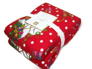 Pottery-Barn-Teen-Polka-Dot-Christmas-The-Grinch-Flannel-Queen-Sheet-Set-New
