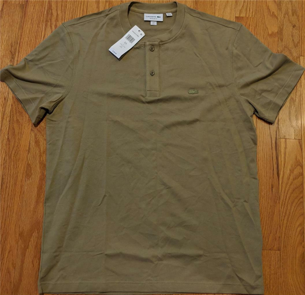 Herren Authentic Lacoste TextuROT Cotton Henley T-Shirt Aloe 6 (XL) 70