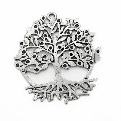3/5/10 Large Silver-Tone Tree of Life Pendant Charms w/ Crystal Cavities