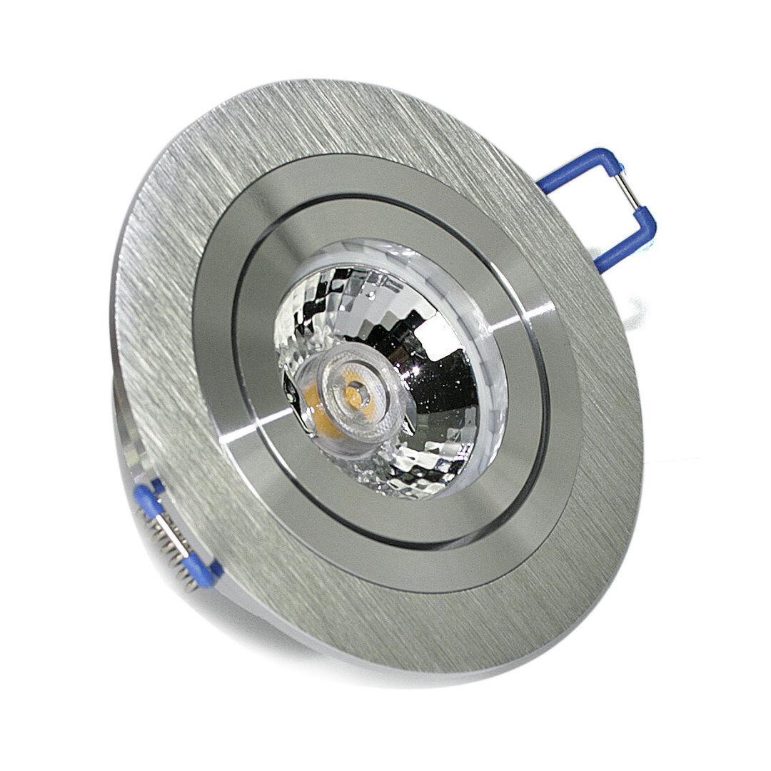 Aluminium Einbaustrahler Rundi, rostfrei, DIMMBAR inkl. 7W = 7 Watt LED LM GU10