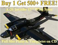A26 Invader 61 Giant Scale Rc Airplane Plans & Templates On Cd In Pdf Format