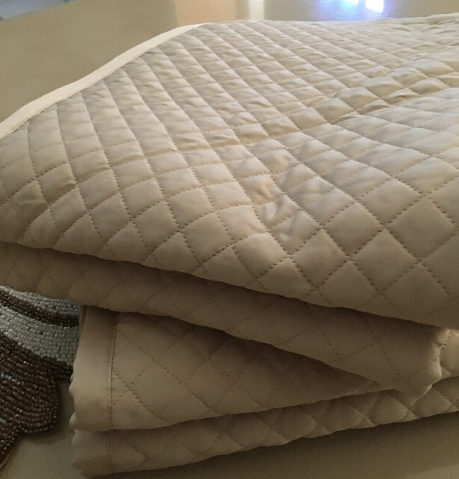 ANN GISH FOR YOU DIAMOND QUILTED TAN STANDARD PILLOW SHAMS BNWOP