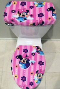 Image Is Loading Minnie Mouse Fleece Toilet Seat Cover Set Mickey