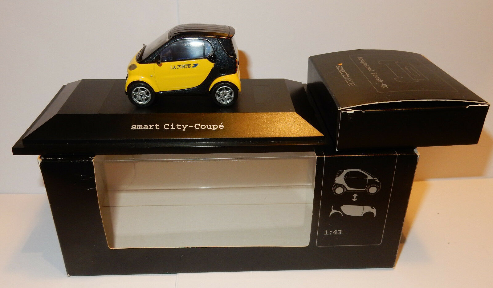 RARE SMART CITY COUPE YELLOW POSITION PTT POSTS + RED 1 43 IN BOX 2 MODELS IN 1