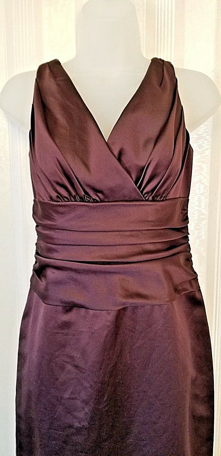 David's Bridal chocolate brown Formal prom bridesmaid long pleated bodice Size 8