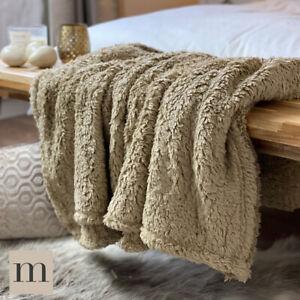 Natural-Beige-Lujo-Piel-De-Peluche-Peluche-Suave-Y-Esponjoso-Sofa-Cama-Manta-Cobertor-Moderna