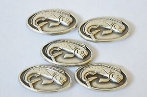 Lot 5 Enmon Mahi Mahi Fish Concho Leather Ocean Sea Screw Back Silver Belt Tack