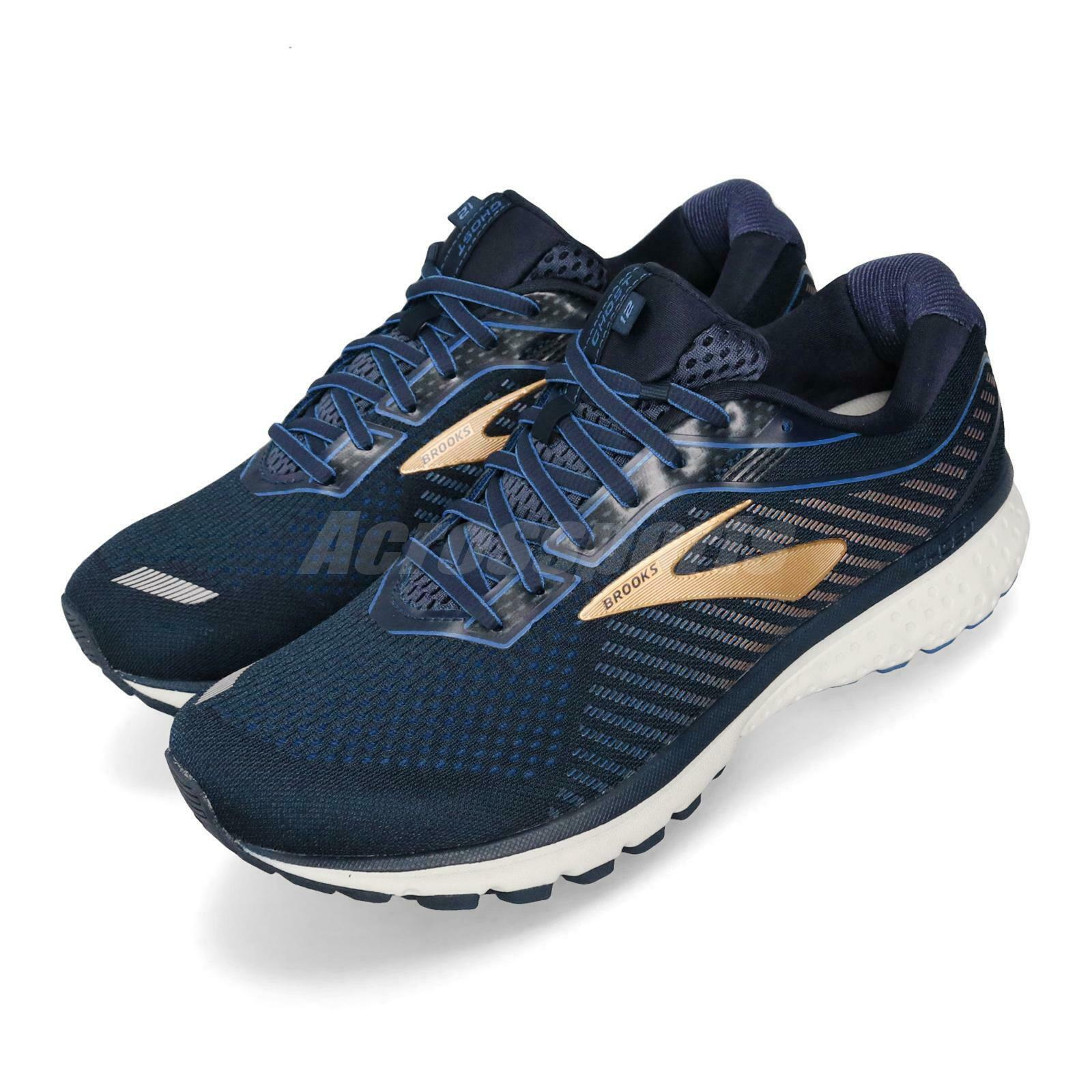 Brooks Ghost 12 4E Extra Wide Navy oro Men Running scarpe scarpe da ginnastica 110316 4E
