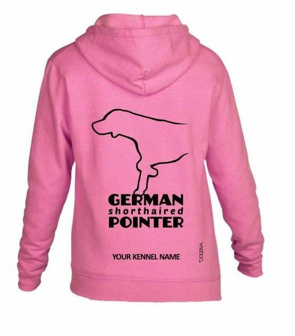 German Shorthaired Pointer Dog Breed Hoodie, Zipped, Exclusive Exclusive Exclusive Dogeria Design. 4560e2