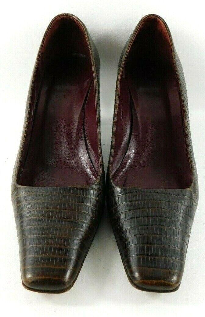 Ann Taylor Womens Sz 8.5 M Brown Italian Leather Crocodile Print Square Toe Heel