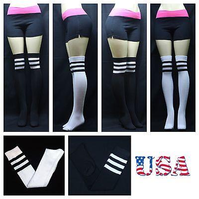 Men's Women's Over The Knee High Tube Socks 9-11 Stripes White Black Warm Sport