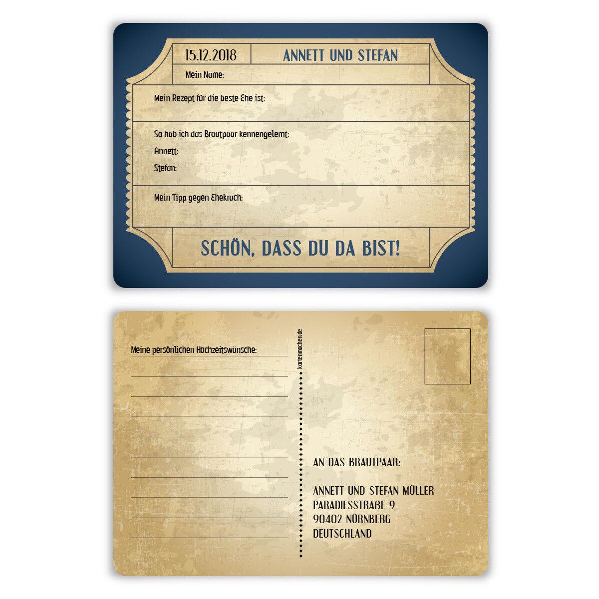 Hochzeitsspiel Fragerunde Postkarte Fragen Antworten - Vintage Brautpaar in Blau | Luxus  |