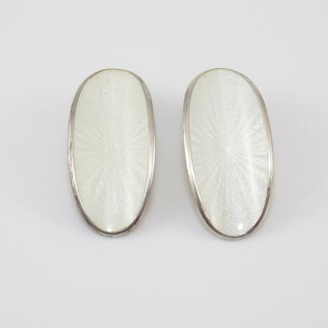 Vintage David Andersen Sterling Silver White Enamel Guilloche Clip On Earrings
