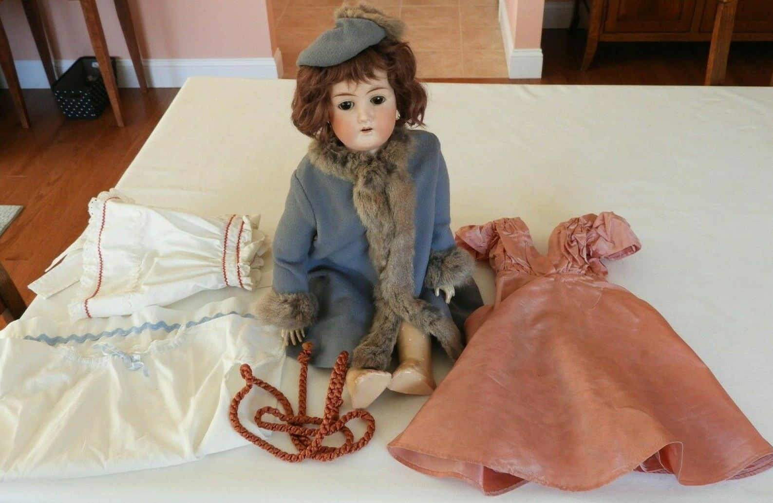 Antique German Doll B4 23  with Fur Outfit & Clothes