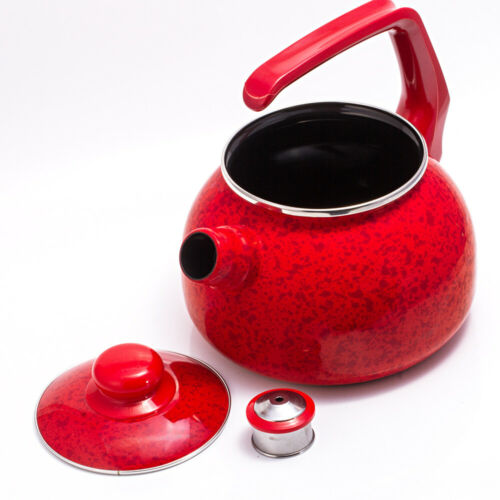 2.7-qt Red Enameled Steel Kettle w// Lid and Whistle Suitable for All Stoves