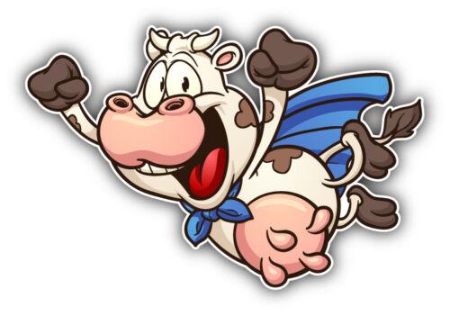 "Super Cow Cartoon Car Bumper Sticker Decal 5/"" x 3/"""